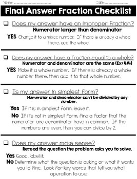 Final Answer - Fraction Checklist
