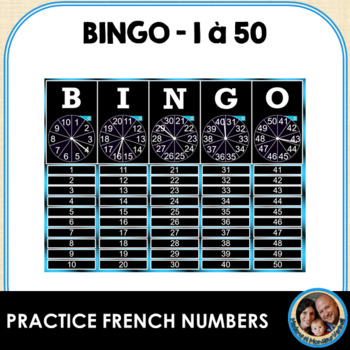Interactive Smart Notebook French BINGO! Numbers 1-50 w/ FR Language Structures