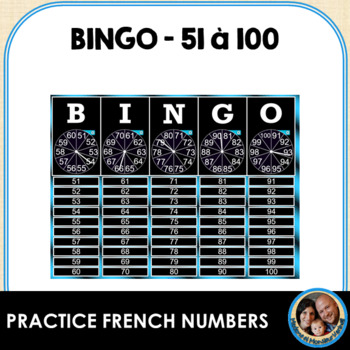 Interactive Smart Notebook French BINGO! Numbers 51-100 w/