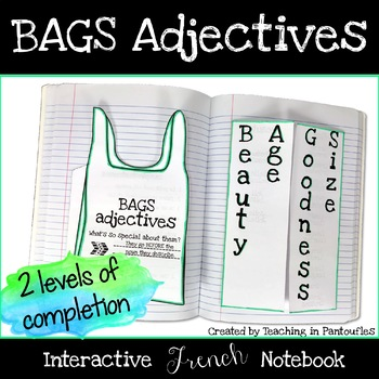 bags adjectives foldable interactive notebook by teaching in pantoufles