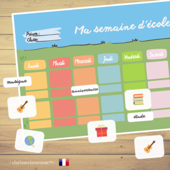French School Weekly Planner⎜Printable Planner⎜Printable W