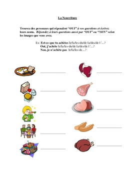 Interactive French Speaking Activity with Food Vocab and Partitive