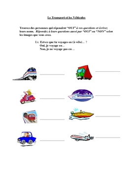 Interactive French Speaking Activity with Transportation Vocabulary