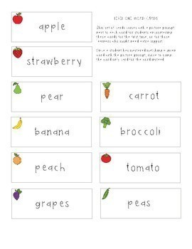 Functional Sight Words: Food