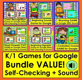 Interactive Games For Google Slides Bundle  Interactive for K/1 ELA With SOUND!