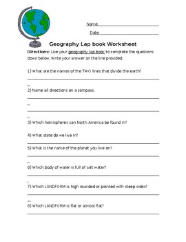 Interactive Geography Lapbook Questions