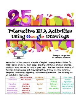 interactive google draw activities for ela middle school by