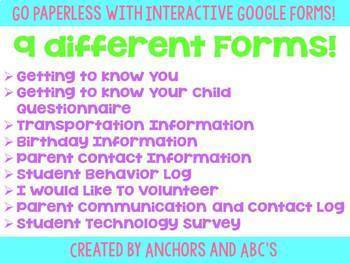Interactive Google Forms for Parents and Students