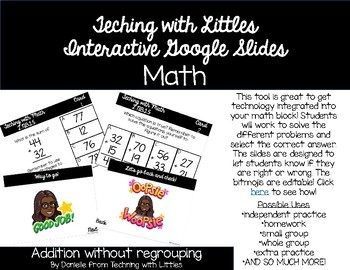 Interactive Google Slides- 2 digit addition w/out regrouping