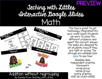 Interactive Google Slides-2 digit addition w/out regrouping PREVIEW