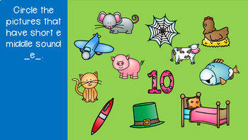 Interactive Google Slides Phonics Short E (Kindergarten Wonders Unit 5 Week 2)