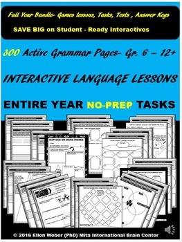 Interactive Grammar Lessons for Entire Year (NO-PREP) - Gr. 6 - 12+