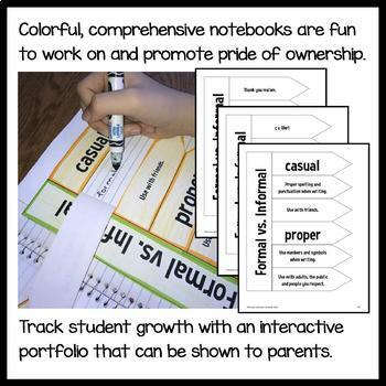 Interactive Grammar Notebook Second Grade Common Core with Scaffolded Notes
