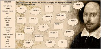 Interactive Graphic Organizer - Elizabethan Words to Know Matching