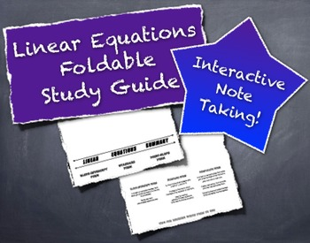 Interactive Graphic Organizer For Linear Equations Foldable Booklet