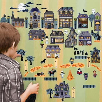 Interactive Halloween Village Wall Play Set