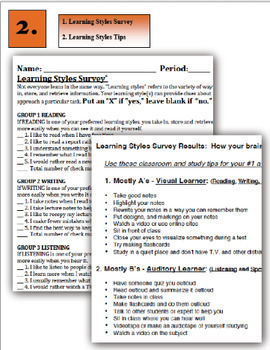 """Interactive Health Lesson: Learning Styles Survey and a """"Fold It"""" Cube!"""