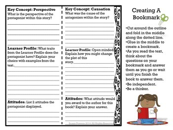 Interactive IB PYP Bookmarks for Literacy