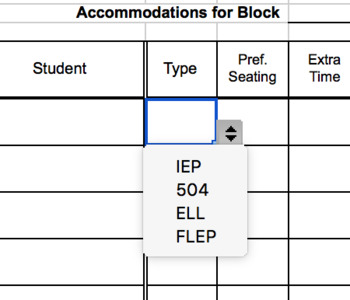 Interactive IEP Grid With Pull Down Menus