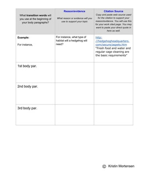 Interactive Informational Writing Graphic Organizer