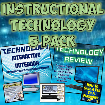 Interactive Instructional Technology Notebook & Task Cards w/ Assessment 5 Pack