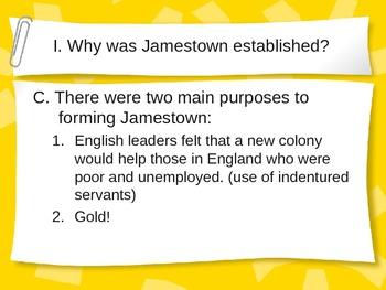 Interactive Jamestown PowerPoint Notes