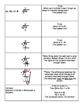 Interactive Journal Foldable - Long Division