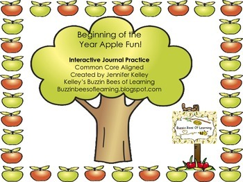 Interactive Journal Math Practice for numbers 1-10. Apple Theme