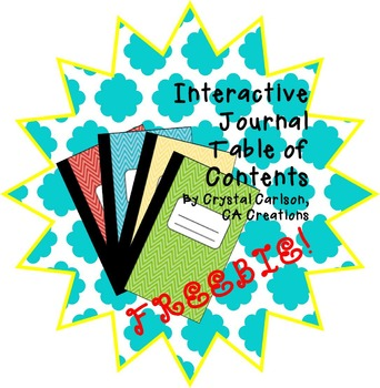 Interactive Journal/Notebook Table of Contents {FREEBIE!}