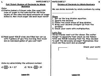 Interactive Journals - Dividing Decimals