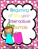 Interactive Journals for the Beginning of the Year