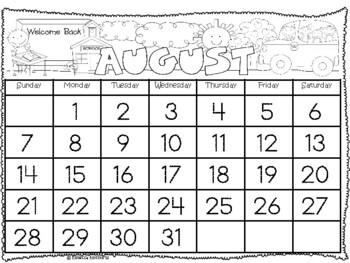 Interactive Kindergarten Calendar Binder 2017-2018