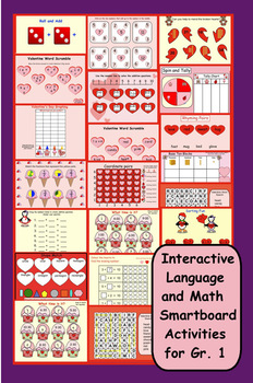 Interactive Valentine's Day Language and Math Smartboard Activities for Gr. 1