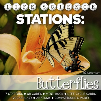 Butterfly Unit Life Cycle Stations- Montessori Cards, Mini-Book, and More