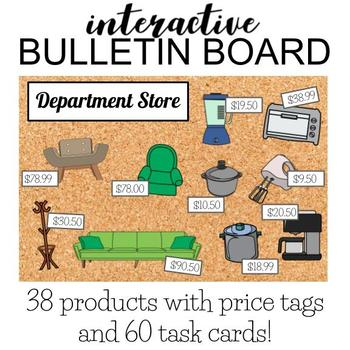 Interactive Life Skills Bulletin Board w/ task cards: HOUSEHOLD ITEMS