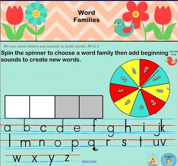 Interactive Literacy Practice for SMART Board Kindergarten April-Themed