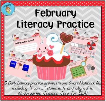 Interactive Literacy Practice for SMART Board Kindergarten February-Themed