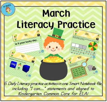 Interactive Literacy Practice for SMART Board Kindergarten March-Themed