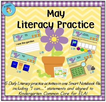 Interactive Literacy Practice for SMART Board Kindergarten May-Themed