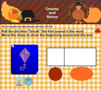 Interactive Literacy Practice for SMART Board Kindergarten November-Themed