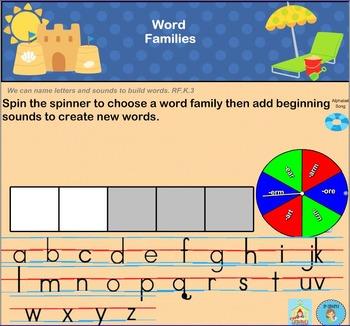 Interactive Literacy Practice for SMART Board Kindergarten Summer-Themed