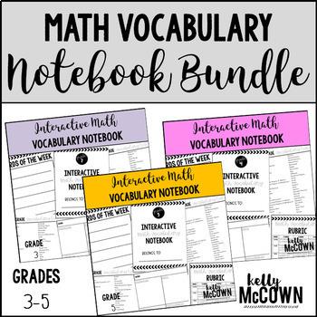 Interactive Math Vocabulary Notebook BUNDLE {Grades 3 to 5}