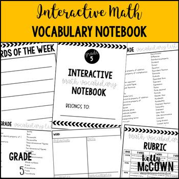 Interactive MATH Vocabulary Notebook {Grade 5}