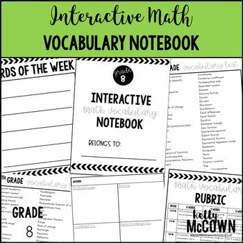 Interactive MATH Vocabulary Notebook {Grade 8}