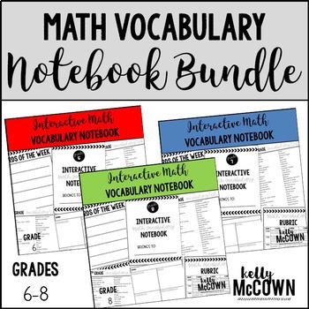 Interactive MATH Vocabulary Notebook BUNDLE {Grades 6 to 8}