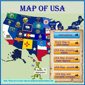 Map of the USA - for the Interactive Whiteboard & SmartBoard