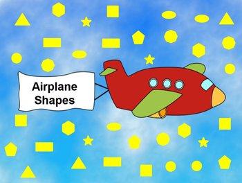 Interactive Flipchart Math Center Airplane Shapes -Sorting Shapes