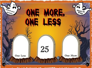 Interactive Math Flipchart Activity One More, One Less Halloween Themed