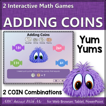 Interactive Math Game Adding Coins - 2 Coin Combinations {Yum Yums}