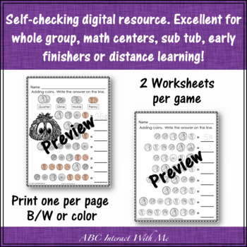 Interactive Math Game Adding Coins 3 and 4 Coin Combinations {Yum Yums}